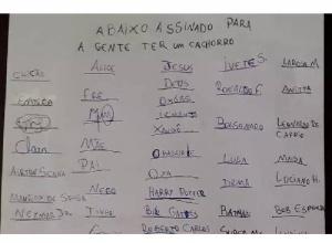 Menino reúne 'assinaturas' de Bill Gates, Jesus, Anitta e mais 72 em abaixo-assinado para ganhar cachorro
